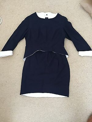 Vintage Thierry Mugler Navy/cream Skirt Suit 38 / 6