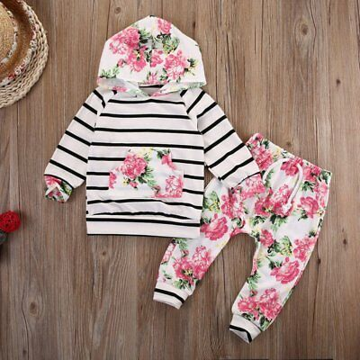 0-18M Newborn Baby Kids Girls Clothes Floral Hooded Tops+Long Pants Outfits Set