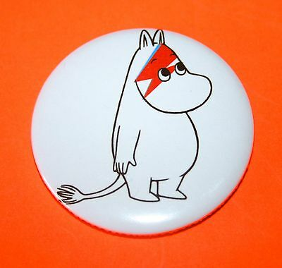 Large David Bowie Inspired Moomin Troll Button Pin Badge
