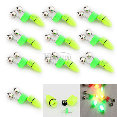 10x Outdoor Green Alarm Bell Rod Tip LED Light Night Fishing Clip Twin Ring Bite