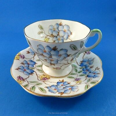 Handpainted Blue Flowers Foley Tea Cup and Saucer Set