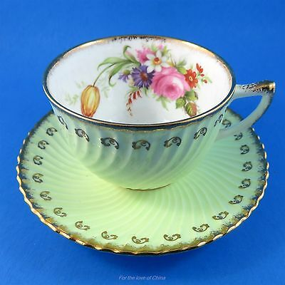 Ruffled Light Green and Gold with Floral Accent Foley Tea Cup and Saucer Set