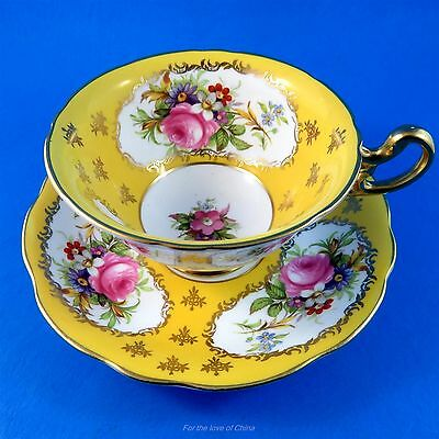 Striking Yellow and Rich Floral Foley Tea Cup and Saucer Set