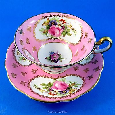 Striking Pink and Rich Floral Foley Tea Cup and Saucer Set