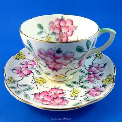 Handpainted Pink Floral Springdale Foley Tea Cup and Saucer Set