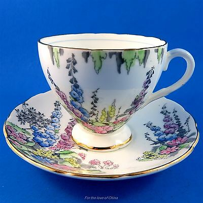 Handpainted Scenic Floral Delphiniums Foley Tea Cup and Saucer Set