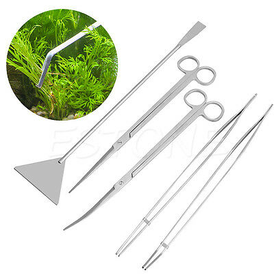 3/5Pc Aquarium Maintenance Tools Kit Tweezers Scissors For Live Plants Grass New
