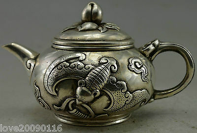 Collectible Decorated Old Handwork Silver Plate Copper Carved Bat Peach Tea Pot