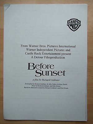 Before Sunset - film production notes