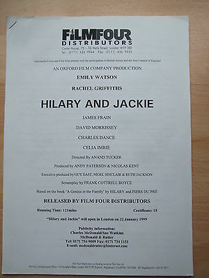 Hilary and Jackie - film production notes