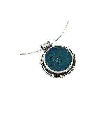 925 Sterling Silver Roman Glass Necklace - One of a kind - Israeli Jewelry