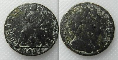Collectable William & Mary Farthing Date 1694 Conjoined Bust