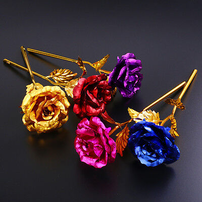 24K Gold Plated Golden Rose Flower Valentine's Day Gift Party Wedding Home Decor