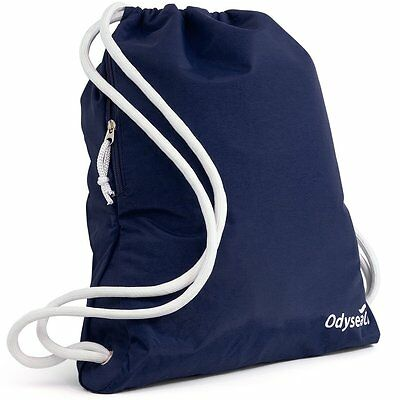 Odyseaco Deluxe Navy Drawstring Gym Bag Waterproof Swim Rucksack School PE Sport