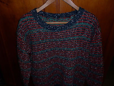 VINTAGE 1980s CHUNKY HAND KNIT MULTI COLOUR JUMPER EXCELLENT CONDITION