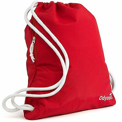 Odyseaco Deluxe Red Drawstring Gym Bag- Waterproof Swim Rucksack School PE Sport
