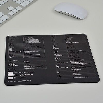 Apple Tastenkürzel Shortcuts Deutsch Mousepad Mauspad El Capitan OS X Schwarz