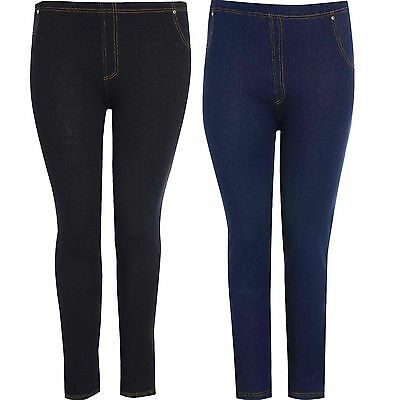 Womens Plus Size High Waisted Stretch Ladies Skiny Jeggings Leggings Jeans 16-26