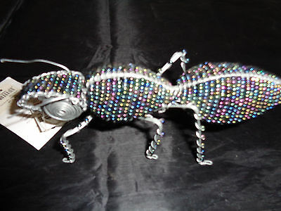 Purple Rhino Handmade Glass Beads & Wire Insect Grasshopper NWT de Young Museum