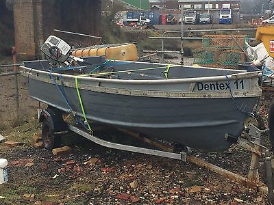 aluminium boat dinghy and trailer 14 & 1/2 foot boat with 15hp honda outboard
