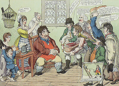 """J. GILLRAY - """"J. Bull visited with the Blessings of Peace"""" - kol. Radierung 1802"""