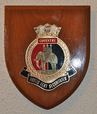 Vintage HMS Coventry shield plaque crest Royal Navy RN naval