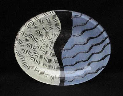 Kosta Boda Sweden Monica Backstrom Hand Painted Taiga Art Glass Oval Platter