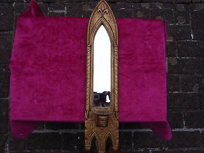 Reproduction Gothic/Medieval Antique Mirror and Candle Holder with Fleur de Lis