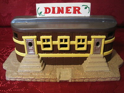 Ceramic Plaster Model Train Railroad Layout Display Building Yellow Brown Diner