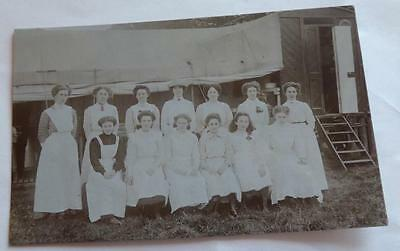 OLD REAL PHOTO POSTCARD WHITEHAVEN c.1910 STATELY HOME HOUSEKEEPING STAFF??