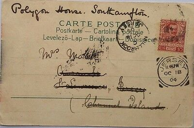 Great Britain 1904 Post Card From Italy With Jersey Squared Circ + Millbrook Cds