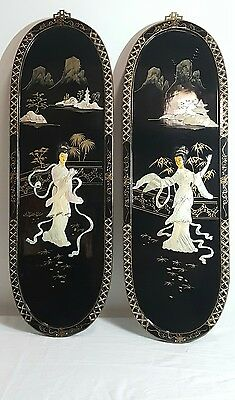 Set Of Two Vintage Mother Of Pearl Orential Japan Black Lacquer Wall Panels