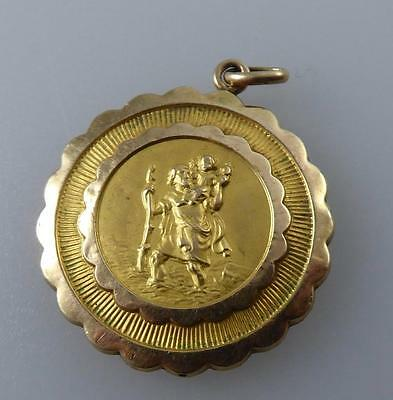 9Ct. Gold St Christopher Pendant Nice Quality 2 Tone Gold