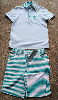 Boys Tutto Piccolo white/turquoise top and shorts set age 5 years BNWT