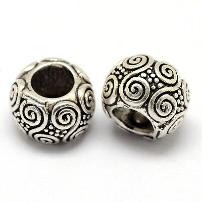 CELTIC SPIRAL spacer-Scroll-Swirl- Solid 925 sterling silver European charm bead