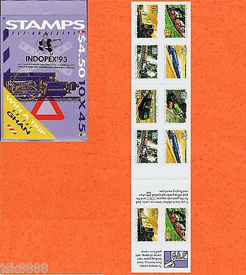 1993 Trains in Australia Indopex '93  Overprint $4.50 Booklet MNH