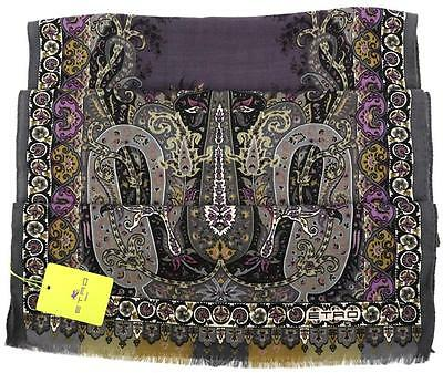 New Etro Milano Paisley Multicolored Signature Wool Silk Shawl Scarf Unisex