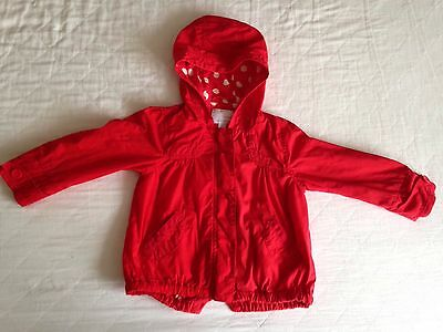 Next Girls Red Hooded Spring Jacket Size Age 2-3