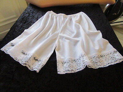 Vtg Sissy Soft & Silky White Nylon With White Lace Panties Bloomers Knickers Cd