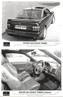 Rover 220 Turbo Coupe 1992 x 2 original b/w Press Photos No. RH/0992/262 & 3