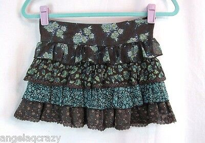 Girls Limited Too Size 8 Brown Sparkly Floral Chiffon Lace Ruffle Shorts Skirt M