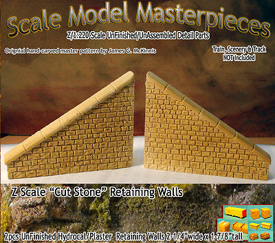 """Z Scale """"Cut Stone"""" Retaining Wall Set Scale Model Masterpieces *NEW PRODUCT!*"""