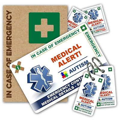 ICE IN CASE OF EMERGENCY AUTISM Jigsaw PACK 1 card 2 keyrings stickers Autistic