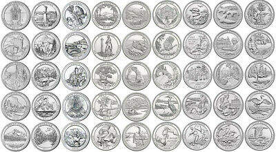 "2010-2017 US ATB National Park Quarters Uncirculated Complete Set ""P&D"" 80 coins"