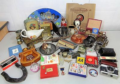 Large Vintage Job Lot Of Collectables Curios Pewter Cameras Medals Coins Etc