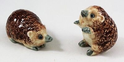 Pairs Porcupine Animal Ceramic 3D Figurines Craft Handmade Brown Collectibles