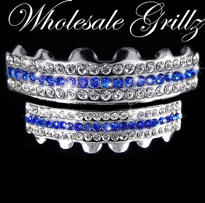 NEW! BLUE Stripe HipHop cz Mouth Grillz 12 TOOTH SET iced out Teeth Grill BLING!