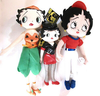 Betty Boop Doll Lot of 3 Biker Pumpkin and Baseball Themes Cloth Body Excellent