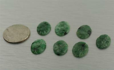 Carved Green Floral Jade For Pendants Earrings Ring 100% Authentic Natural