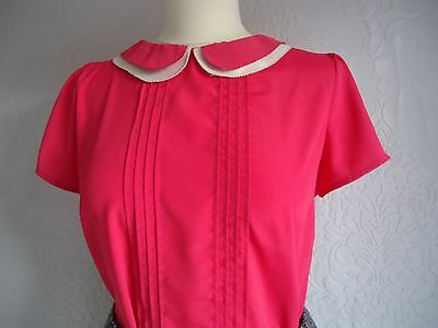 1940's WWII Vintage Style Pink Silky Top Size 14